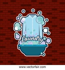 brick wall background of shirt male cloth in basin with soap laundry text