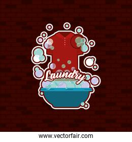 brick wall background of t-shirt male cloth in basin with soap laundry text