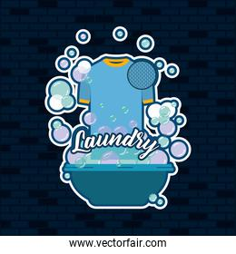 brick wall dark blue background of t-shirt male cloth in basin with soap laundry text