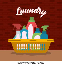 brick wall background of cleaning items laundry in basin plastic