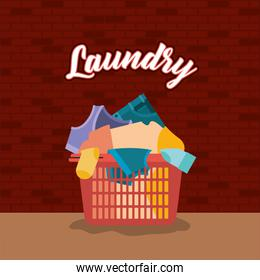 brick wall background of clothes laundry in basin plastic