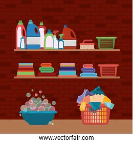 brick wall background of wooden shelves and elements of cleaning items laundry