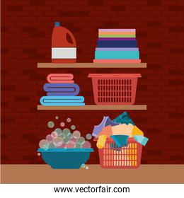 brick wall background of wooden shelves and elements of cleaning items