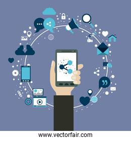 color background of circular frame of tech share icons and hand holding a smartphone device