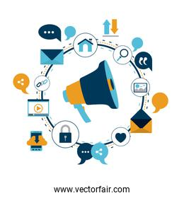 white background of colorful circular frame of tech share internet icons and closeup megaphone