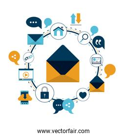 white background of colorful circular frame of tech share internet icons and closeup enveloped mail