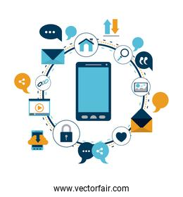 white background of colorful circular frame of tech share internet icons and closeup devie smartphone