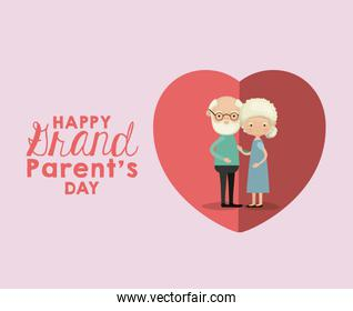 color background and heart shape pink greeting card with caricature full body elderly couple happy grandparents day text outside