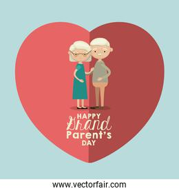 light blue color background of heart shape pink greeting card with caricature full body elderly couple embraced happy grandparents day