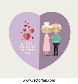 light blue color background of heart shape lilac greeting card with caricature full body elderly couple embraced happy grandparents day