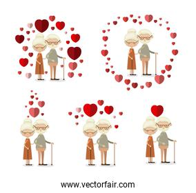 white background set full body elderly couple inlove grandparents with hearts floating around
