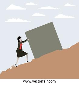 color scene rock landscape with business woman pushing a block