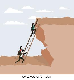 color scene rock landscape with business people trying to climb stairs to the top