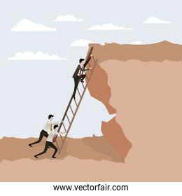 color scene rock landscape with business male people trying to climb stairs to the top