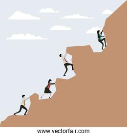 color scene rock landscape with group business people trying to climb to the top