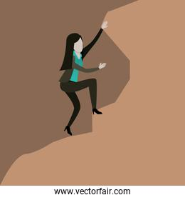 color scene rock landscape with businesswoman trying to climb