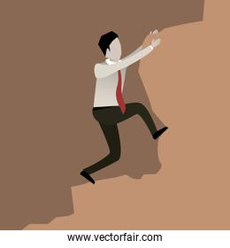 color scene rock with businessman trying to climb a stone