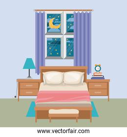 color background of bedroom with window in the night landscape