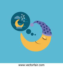 color background of moon with sleeping cap dreaming with the night