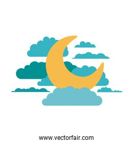 white background of moon in the sky with clouds