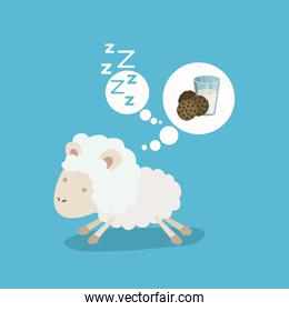 color background of cute sheep thinking in the milk and cookies drems