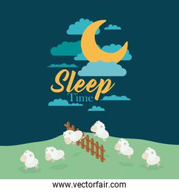 color scene night landscape of sleep time with sheeps jump wooden fence