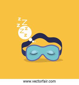 color background with sleep mask with snoring sign in bubble callout