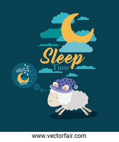 color poster scene sky landscape of sleep time with sheeps thinking in the night