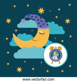 color poster scene sky landscape of moon with sleeping cap dreaming and alarm clock icon