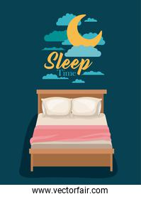 color poster scene night landscape of bed sleep time