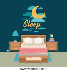 color poster scene night landscape of cute bedroom sleep time
