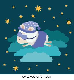 color poster scene night landscape of sleep time with sheeps in the clouds with sleep mask