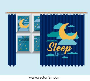 color background of bedroom window with curtain and night landscape sleep time