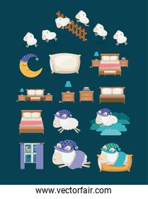 color background with colorful elements sleep time