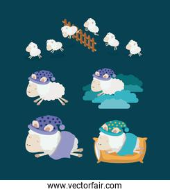 color background with set sheep sleep time icons