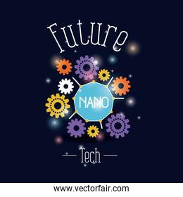 color background with brightness of future tech nano gears