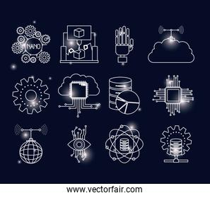 color background with brightness of silhouette future tech
