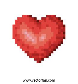 color pixelated heart shape in red color