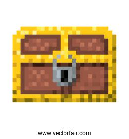 color pixelated treasure chest with padlock