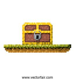 color pixelated treasure chest with padlock in meadow