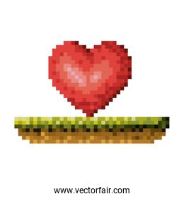color pixelated heart in meadow over white