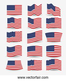 white background of colorful set flags united states of america different design