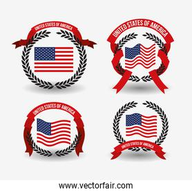 white background of colorful set flags united states of america with arch of leaves and label tape