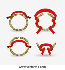white background of colorful set arch of leaves with red ribbon tape