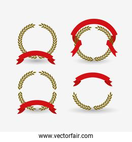 white background of colorful set crown of olive branches with red ribbon tape