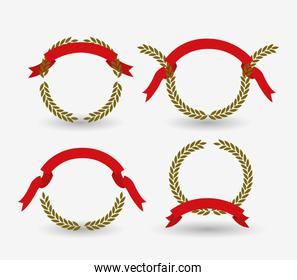 white background of colorful set arch of olive branches with red ribbon tape