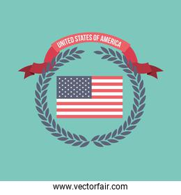 blue light background of colorful flag united states of america with arch of leaves and label tape