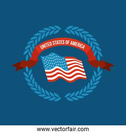 blue background of colorful flag united states of america with arch of leaves and label tape