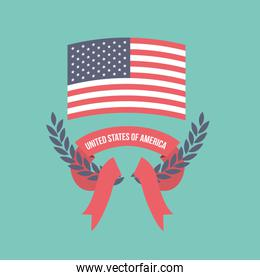 blue light background of colorful flag united states of america and arch of leaves with label tape