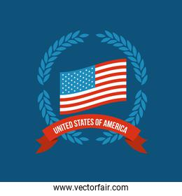 blue background of colorful flag united states of america with crown of olive branches and label tape